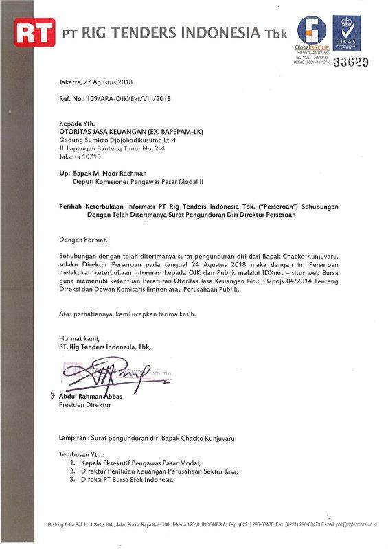 Pengunduran Diri Direktur Perseroan Pt Rig Tenders Indonesia Tbk
